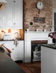 backsplash exposed brick kitchen rustic country farmhouse urban