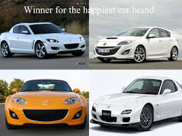 brand mazda and the winner of the happiest car brand goes to