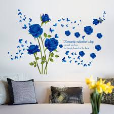 Valentine S Day Living Room Decor by Aliexpress Com Buy New Arrival Blue Rose Flower Wall Sticker