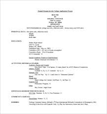Resume For College Application Sample High Resume Examples For College Admission Full Image For