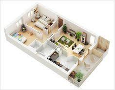 2 Bedroom Flat Plan 3d