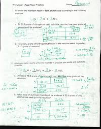 Stoichiometry Problems Worksheet Nutley Public District