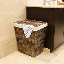 seville classics handwoven lidded laundry hamper with canvas liner