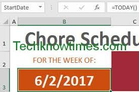 chore chart template for microsoft excel