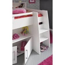 lit mezzanine bureau blanc dave lit combiné 90cm bureau rangement blanc achat vente lit
