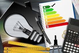 energy of light calculator energy efficiency rating with calculator and house stock image