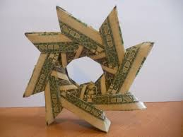 learn how to make a money origami wreath