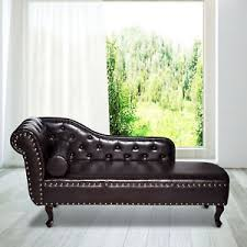 Leather Chaise Lounge Sofa Vintage Faux Leather Chaise Longue Lounge Sofa Bed Bolster Cushion