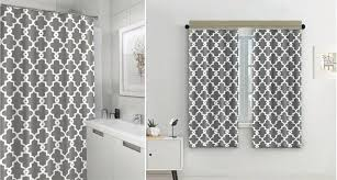 Fabric Shower Curtain With Window Bathroom Interior Split Geometric Patterned Water Repellent