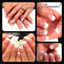 french manicure with pearl decoration pearl nail art pinterest