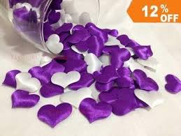 Fabric Heart Decorations Purple And White Mixed Wedding Table Decoration Heart Diy Party