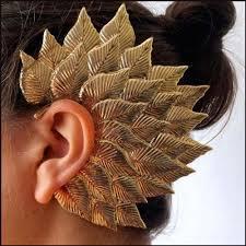 gold ear cuffs buy via mazzini inspired fohawk leaf gold ear cuff earring for