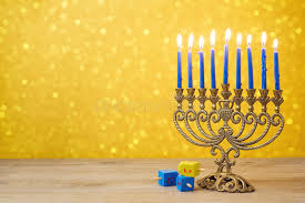 dreidel lights hanukkah background with vintage menorah and spinning top