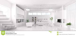 white livingroom interior of modern white living room panorama stock illustration