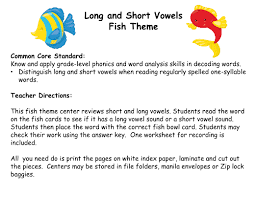 and short vowels fish theme