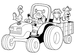 cartoon tractor coloring pages for kids coloringstar