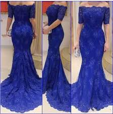 2016 lace royal blue evening dresses mermaid prom dress off the