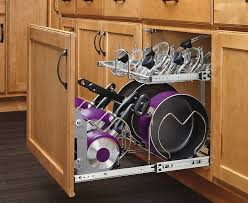 kitchen cabinet organizers for pots and pans wall cabinets woods cherry cabinet stainless steel pan cooking