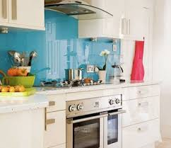 Blue Glass Kitchen Backsplash Bright Blue Glass Backsplash