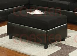 Black Microfiber Ottoman Black Vinyl Microfiber Ottoman By Coaster 500736