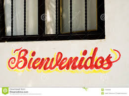 bienvenidos sign on restaurant wall in mexico royalty free stock