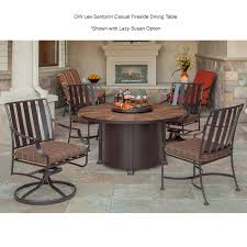 54 inch round santorini dining fire pit table by ow lee