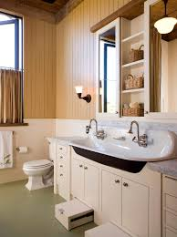 Double Trough Sink Bathroom Double Trough Sink Bathroom Traditional With White Tile