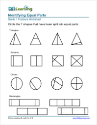 1st grade fractions math worksheets k5 learning