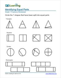 1st grade fractions math worksheets k5 learning