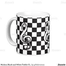 Modern Coffee Mugs Modern Black And White Treble Clef On Checkerboard Coffee Mug