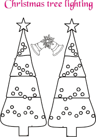 christmas tree and bell coloring page printable