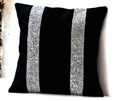 Black Burlap Silver Sequin Stripes Decorative Pillow Silver