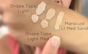 light sand tarte concealer tarte shape tape vs tarte maracuja concealer