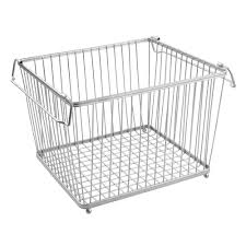 york stackable wire pantry basket chrome in wire baskets