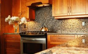 stone backsplash wooden cabinet white wooden cabinet fancy red