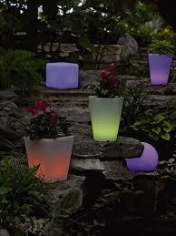 solar illuminated planter small round gardener u0027s supply