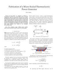 fabrication of a micro scaled thermoelectric power generator
