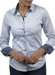 women lightblue dress shirt navy flower braid and colored buttons
