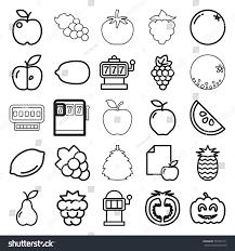 editable fruit fruit icons set 25 editable outline stock vector 781654171