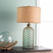 Glass Lamps Green Glass Jug With Netting Table Lamp Coastal And