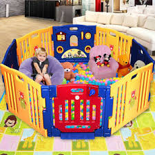 8 panel large foldable baby kids play pens playpen room divider