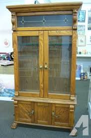 Glass Gun Cabinet Beautiful Lighted Oak Gun Cabinet With Stained Glass For Sale In