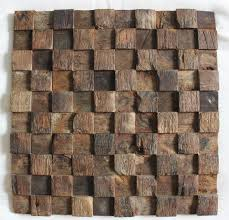 square pattern ship wood tiles rustic wood dining room wall