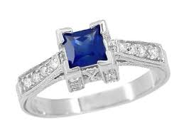 art deco 1 2 carat square sapphire and diamond engagement ring in