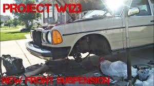 lowered mercedes w123 project mercedes w123 part 5 full front suspension rebuild youtube