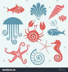vector set sea fauna stylized original stock vector 144326917