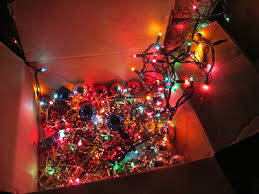 box of lights and ornaments pictures photos and images