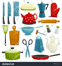 kitchen utensils isolated icons kitchenware cutlery stock vector