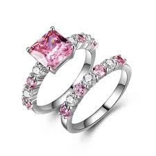 Pink Diamond Wedding Ring by Women U0027s Princess Cut Lab Created Pink Diamond Wedding Ring Set
