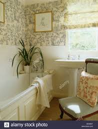 blue white toile de jouy wallpaper and blind in small bathroom blue white toile de jouy wallpaper and blind in small bathroom with houseplant on side of the bath